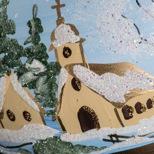 Boule de Noel verre paysage enneigé peint 10cm s4