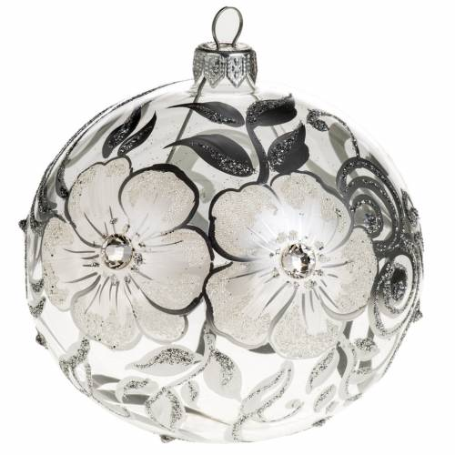 Boule de Noel verre peint à la main fleurs 10 cm s1
