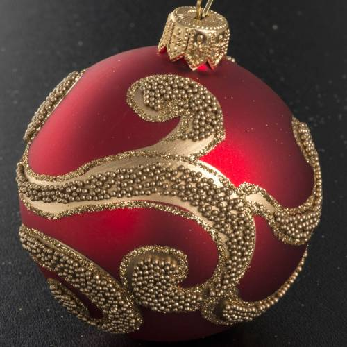 Boule de Noel verre rouge décorations dorées 6 cm s2