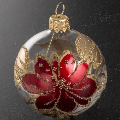 Boule de Noel verre transparente peinte à la main 6 cm s2