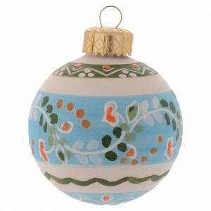 Décorations sapin bois et pvc: Boule décoration sapin Noël en terre cuite 60 mm