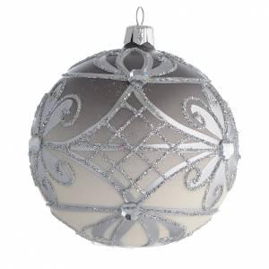 Boule Noël verre soufflé mat argent 100 mm s2