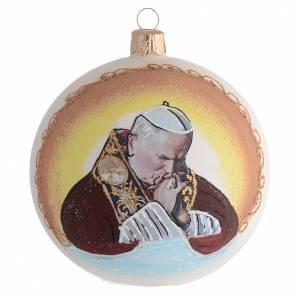 Boule pour Noël Jean-Paul II verre soufflé 100 mm s1