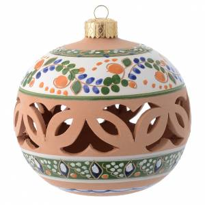 Décorations sapin bois et pvc: Boule ronde ajourée country terre cuite Deruta 100 mm