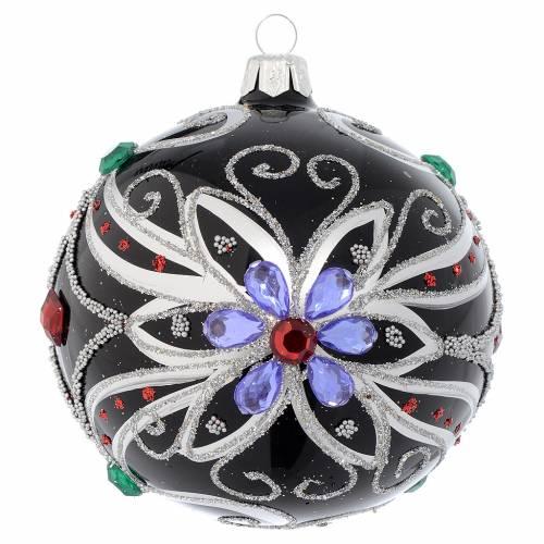 Boule sapin en verre soufflé décor florale noir et argent 100 mm s1
