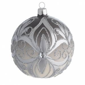 Boule sapin Noël verre soufflé argent 100 mm s1