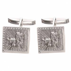 Boutons de manchette religieux: Boutons manchettes bijoux arg 800 Agnus Dei 1,7x1,7 cm