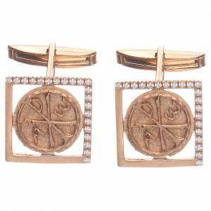 Boutons manchettes en argent 800 rosé Pax 1,7x1,7 cm s1