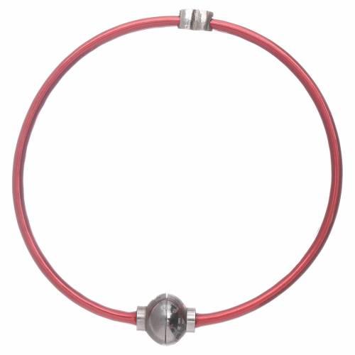 Bracciale AMEN in termoplastica rosso cuoricino zirconato argento 925 s1