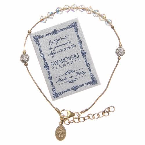 Bracciale Argento 925 dorato e Swarovski grano cristallo s2