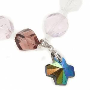 Bracciale cristallo grani e croce s2