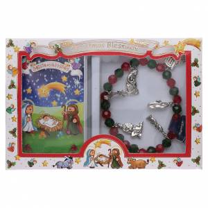Bracciale di Natale elastico in cristallo e libretto preghiere natalizie ITA s5