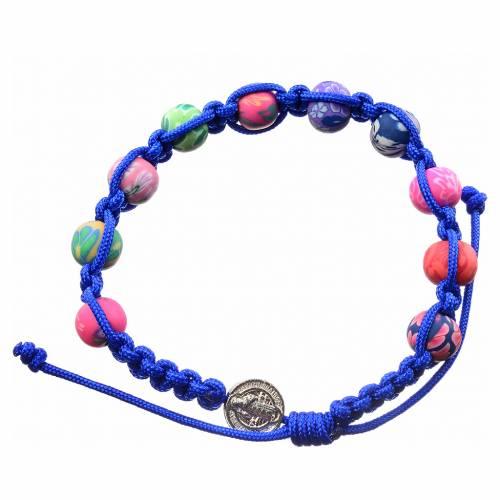 Bracciale fimo Medjugorje corda blu s1