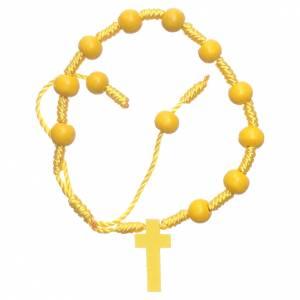 Bracciale in corda grani legno giallo diametro 8 mm s2