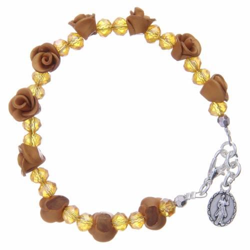 Bracciale Medjugorje color ambra con grani cristallo s2