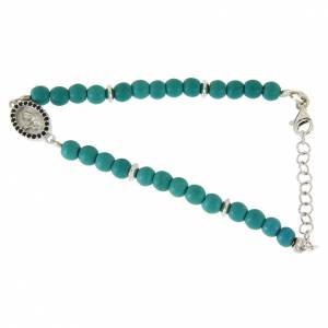 Bracciale perline pasta turchese medaglietta S. Rita zirconi neri - argento 925 s1