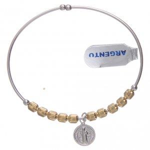 Bracciale rosario argento 925 dorato palline esagonali 5 mm San Benedetto s1