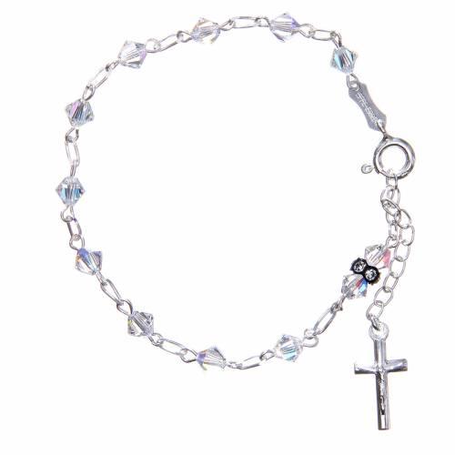 Bracciale rosario cristallo Swarovski conico bianco 5 mm s1