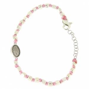 Bracciale sfere sfaccettate argento 2 mm, cordina rosa in cotone, medaglietta S. Rita zirconi neri s2