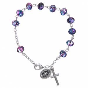 Bracciale su catena con grani sfaccettati in vetro viola/nero s1