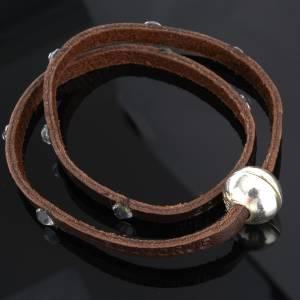Bracciale Swarovski e pelle scritta Medjugorje lung. 34 cm s4