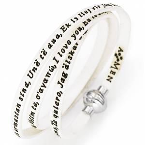 Bracelet Amen Je t'aime dans toutes les langues blanc s1