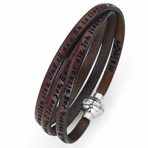 Bracelet Amen Je t'aime dans toutes les langues brun s1