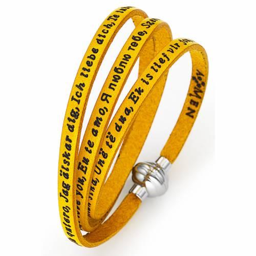 Bracelet Amen Je t'aime dans toutes les langues jaune s1