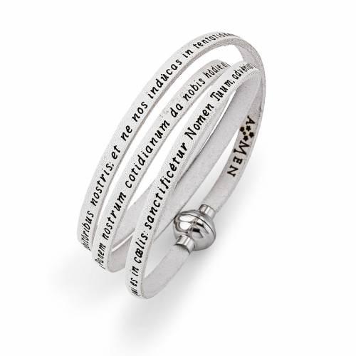 Bracelet Amen Notre Père blanc LAT s1