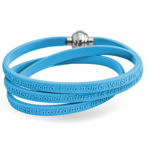 Bracelet AMEN prière Notre Père italien caoutchouc bleu ciel s1