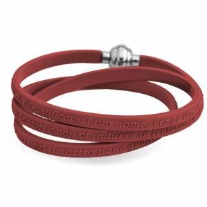 Bracelet AMEN prière Notre Père italien caoutchouc marron s1