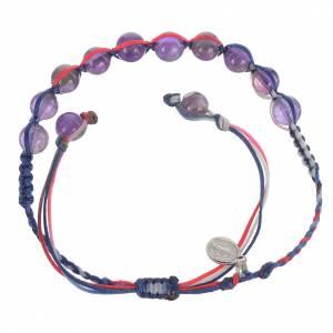 Bracelet Améthyste Méd. Miraculeuse Arg 925 cordon multicolore s2