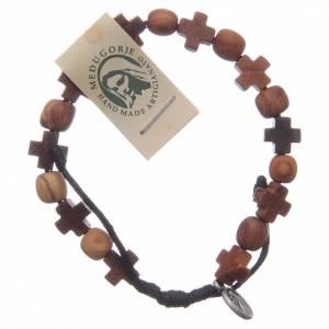 Bracelets, dizainiers: Bracelet bois olivier avec croix et grains ronds