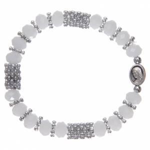 Bracelets, dizainiers: Bracelet chapelet en cristal blanc à ressort