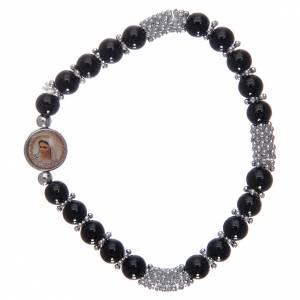 Bracelets, dizainiers: Bracelet chapelet en cristal noir à ressort