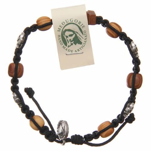 Bracelet croix bois d'olivier grains 10 mm s1