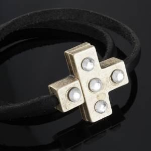 Bracelets divers: Bracelet croix Swarovski et cuir