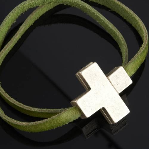 Bracelet cuir Medjugorje et croix zama long. 39 cm s2