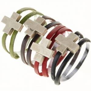 Bracelets divers: Bracelet cuir Medjugorje et croix zama long. 39 cm
