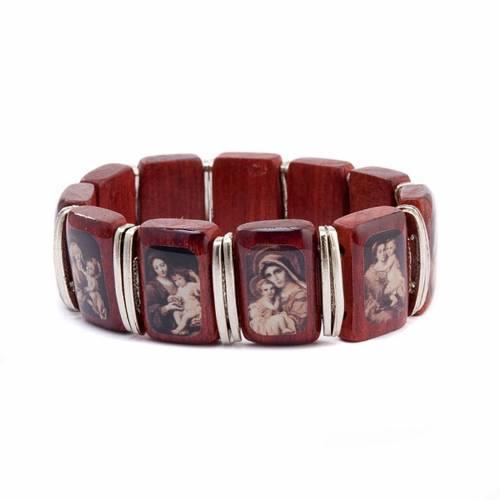 Bracelet-chapelet, dix grains, images, bois s1