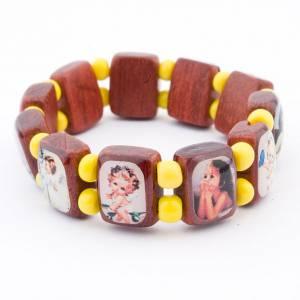 Bracelet-chapelet, dix grains noir, images enfants s7