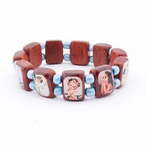Bracelets avec images en bois: Bracelet-chapelet, dix grains noir, images enfants
