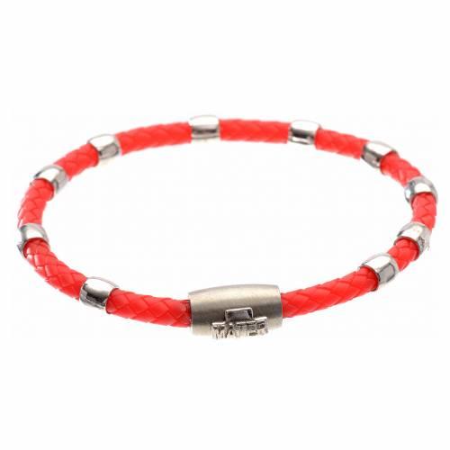 Bracelet dizainier MATER rouge croix argent 925 s1