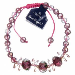 Bracelet en corde grains en cristal avec roses s2