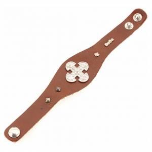 Bracelet en cuir marron avec décorations en argent 925 s3