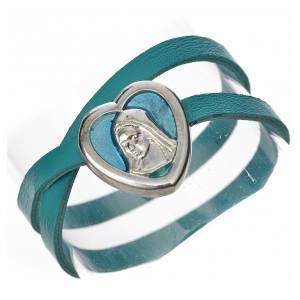 Bracelet image Vierge Marie cuir bleu clair s1