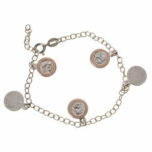 Bracelet in 800 silver with Guardian Angel medal, pink s1