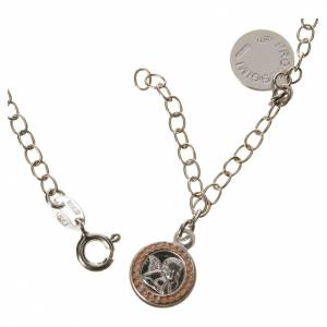 Bracelet in 800 silver with Guardian Angel medal, pink s2