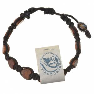 Bracelets, dizainiers: Bracelet Medjugorje corde noire grains olivier coeur