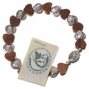 Bracelets, dizainiers: Bracelet Medjugorje élastique grains coeur olivier métal